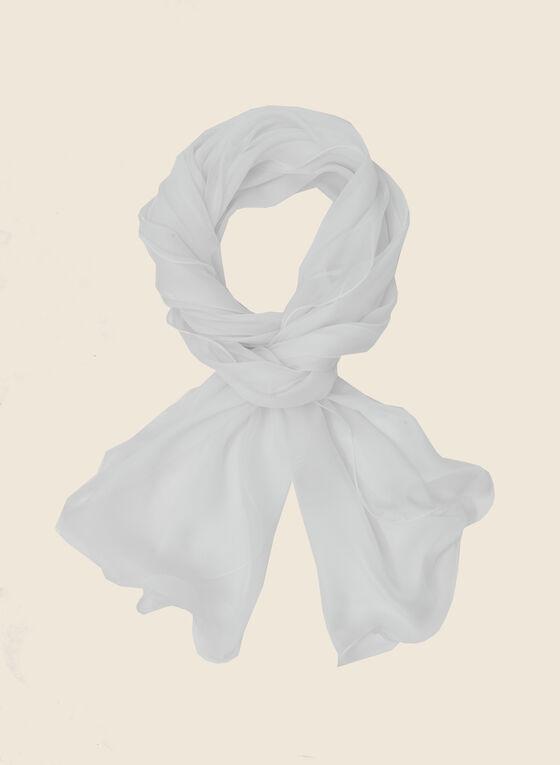 Sheer Oblong Scarf, White