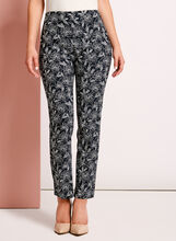 Floral Print Straight Leg Ankle Pants, Blue, hi-res