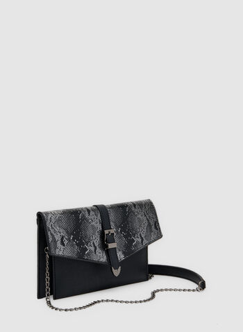 Snake Print Envelope Clutch, Black,  chain, shoulder strap, buckle, faux leather, faux snakeskin, fall 2019, winter 2019