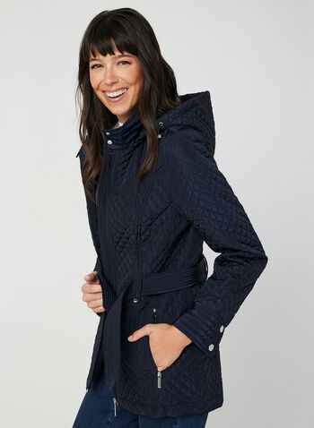 Quilted Tie Belt Coat, Blue,  quilted fabric, long sleeves, zipper in front, tie belt, stand up collar, removable hood, fall 2019, winter 2019