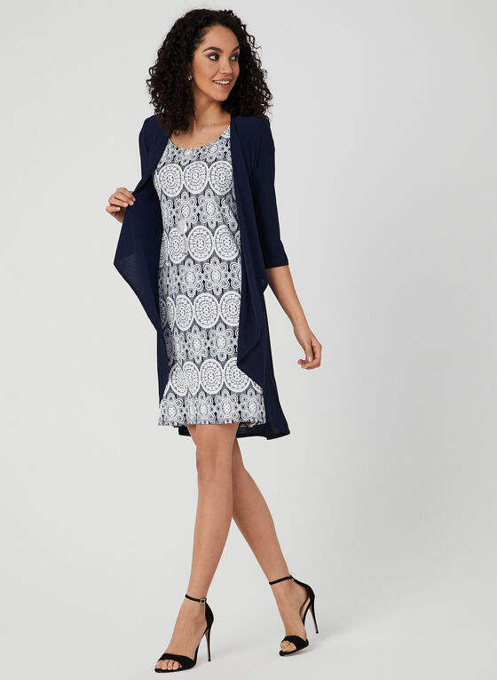 Jersey Shift Dress & Duster , Blue, hi-res