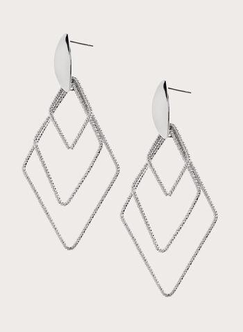 Boucles d'oreilles géométriques à ajours, Argent, hi-res