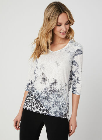 Floral Print ¾ Sleeve T-Shirt, Black,  t-shirt, V-neck, lace, 3/4 sleeves, floral print, rhinestones, fall 2019, winter 2019