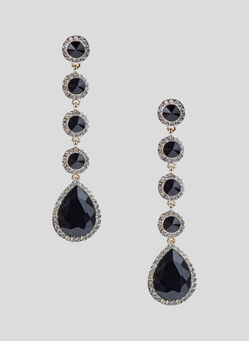 Tiered Crystal Dangle Earrings, Black, hi-res