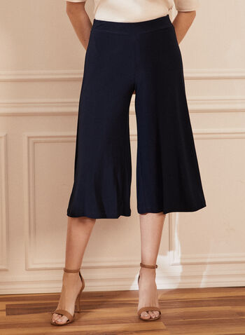 Pull-On Gaucho Pants, Blue,  gauchos, jersey, pull-on, wide leg, capris, spring summer 2020