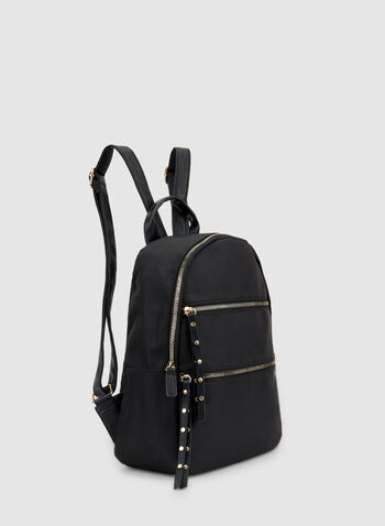 Zipper Trim Backpack, Black,  fall winter 2019, faux leather, backpack, handbag