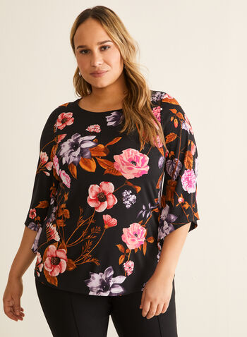 Floral Print Angel Sleeve Top, Red,  top, long sleeves, angel sleeves, scoop neck, floral, jersey, spring summer 2020