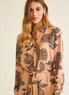 Floral Print Shirt Collar Tunic, Multi