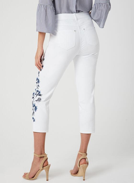 Embroidered Slim Leg Capri Pants, White, hi-res
