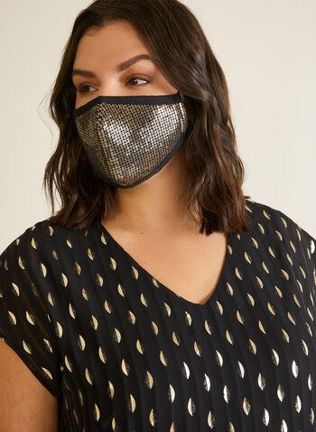 Sequin Embellished Mask, Gold,  mask, sequin, washable, reusable, fall winter 2020