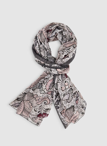 Floral Print Scarf, Grey,  lightweight, scarf, floral, fall 2019, winter 2019