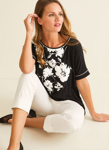 Flower & Bead Appliqué T-Shirt, Black,  t-shirt, jersey, floral, beading, boat neck, dolman, elbow, spring summer 2020