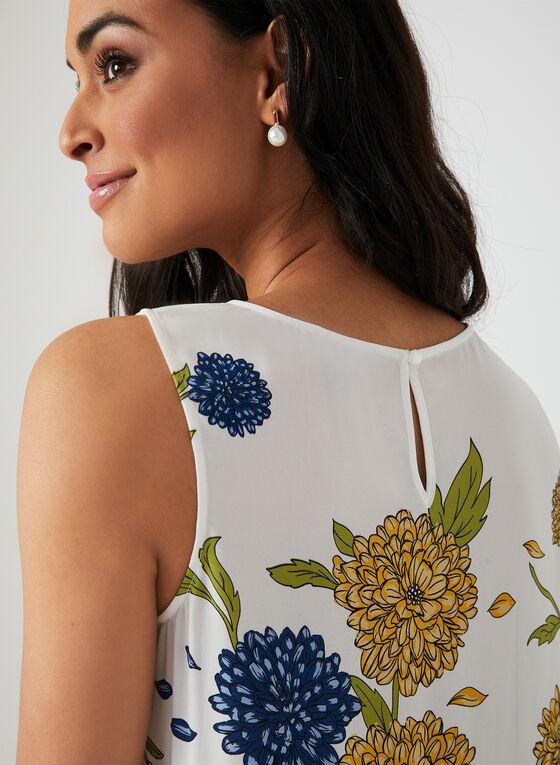 Blouse sans manches à imprimé floral, Blanc