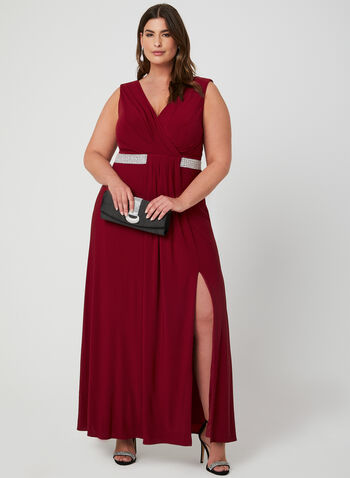 Sleeveless Empire Waist Gown, Red, hi-res