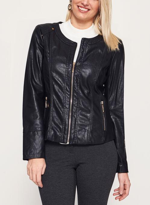 Faux Leather Zipper Trim Jacket, Black, hi-res