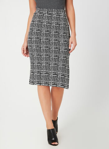 Plaid Print Skirt, Black,  fall winter 2019, knit, pencil skirt, pull-on, plaid print