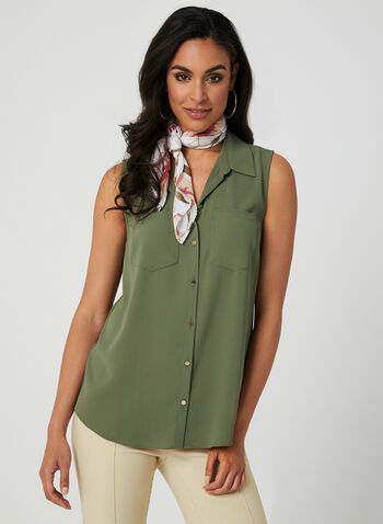 214ff91f3621bf Sleeveless Button Down Blouse