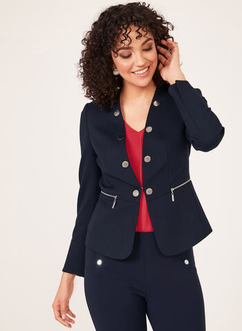 Faux Collar Cropped Jacket, Blue, hi-res