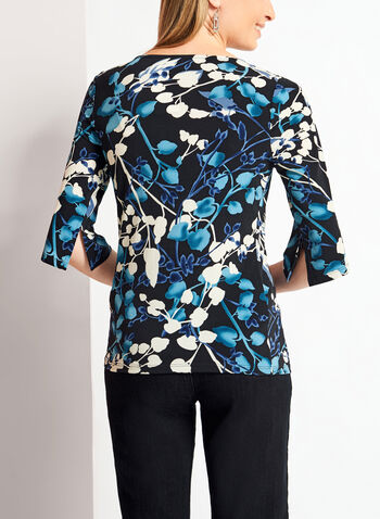 3/4 Split Sleeve Floral Print Chain Top , Blue, hi-res