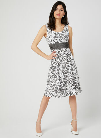 Floral Print Dress & Bolero, Grey, hi-res,  puff print, jersey, sleeveless, pleated, spring 2019