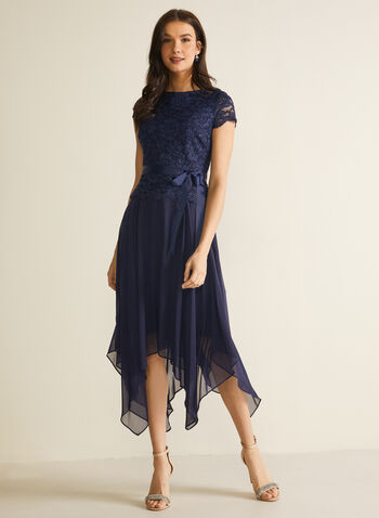 Glitter Lace Midi Dress, Blue,  spring summer 2020, cap sleeves, scoop neck, glitter lace, mesh, skarkbite hem, satin sash, peplum top