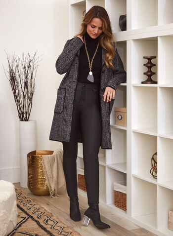 Veste cardigan motif tartan, Gris,  veste, cardigan, tartan, col cranté, poches, automne hiver 2020