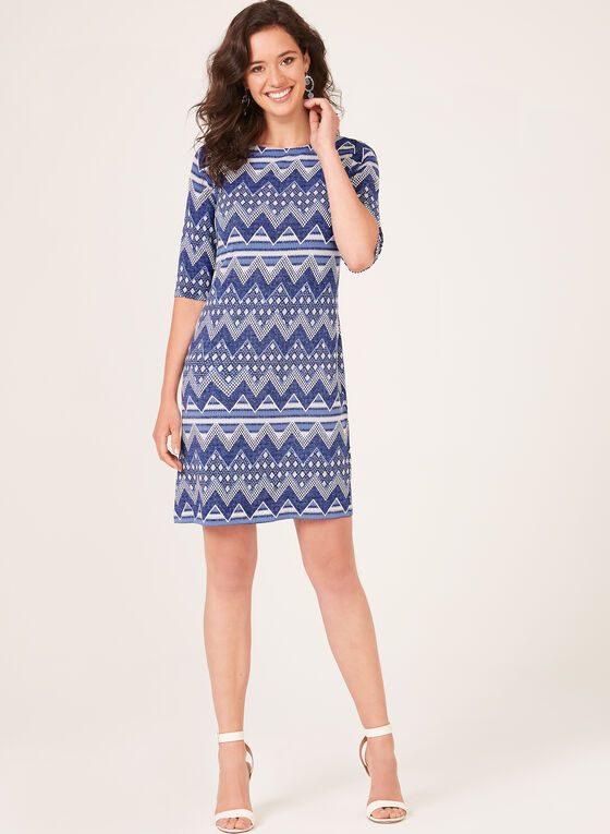 Puff Print Elbow Sleeve Dress, Blue, hi-res