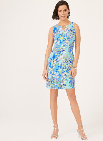 Paisley Print Sleeveless Dress, Blue, hi-res
