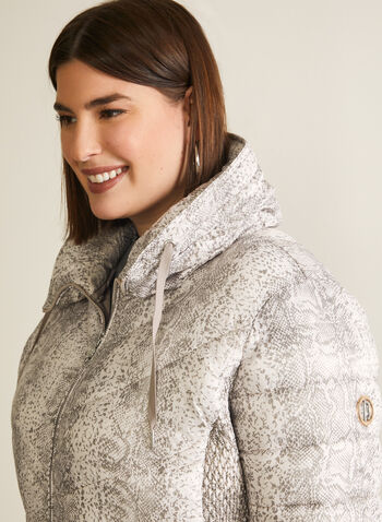 Bernardo - Snakeskin Print Packable Coat, White,  Bernardo, coat, packable, snakeskin print, quilted. water resistant, EcoPlume, Bluesign, spring 2019
