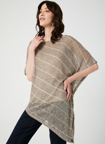Asymmetric Poncho Top Camisole Set, Brown, hi-res,  knit poncho , knit top
