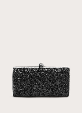 Beaded Box Clutch , Black, hi-res