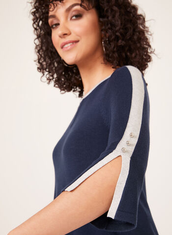 ¾ Sleeve Fine Knit Sweater, Blue, hi-res
