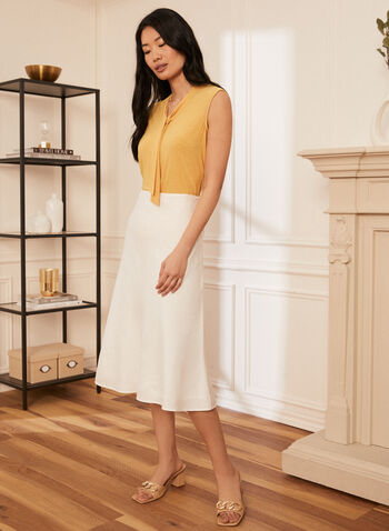 Linen Midi Skirt, White,  spring summer 2021, skirt, linen, midi, side zipper