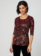 Metallic Floral Print Blouse, Red, hi-res