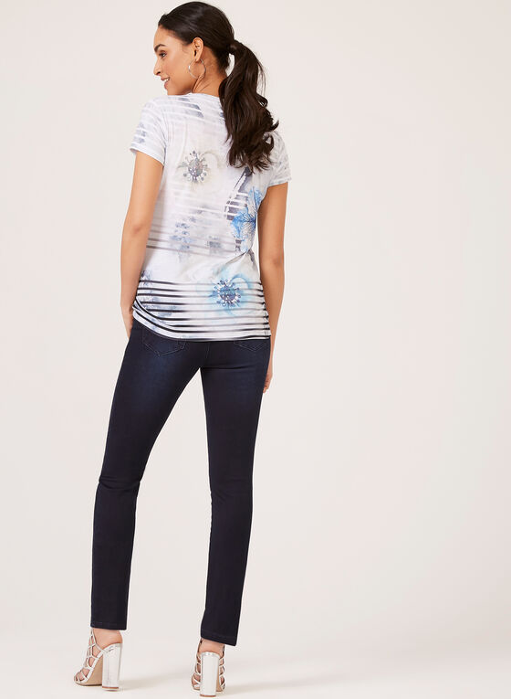 Vex – Floral Watercolour Print T-Shirt, Blue, hi-res