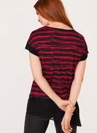 Asymmetric Stripe Print Tunic , Black, hi-res