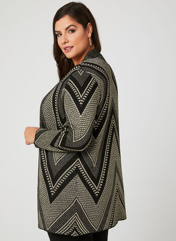 Mitered Knit Cardigan, Black, hi-res