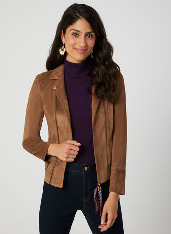 Faux Suede Jacket, Brown, hi-res,  blazer, jacket, long sleeves, fax suede, zippers, fall 2019, winter 2019