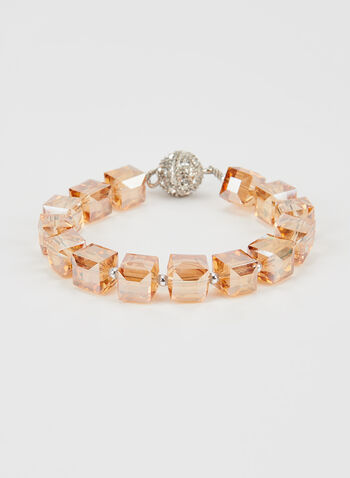 Faceted Bead Bracelet, Off White, hi-res