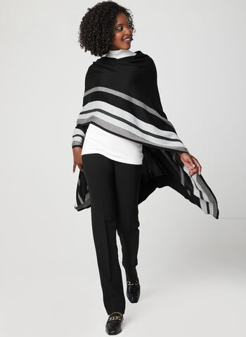 Stripe Print Knit Poncho, Black, hi-res