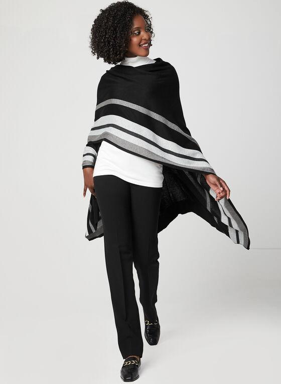 Stripe Print Knit Poncho, Black, hi-res