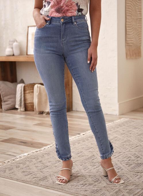 Ruffle Detail Slim Leg Jeans, Blue