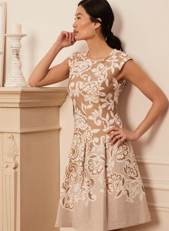 Floral Fit & Flare Dress, Beige