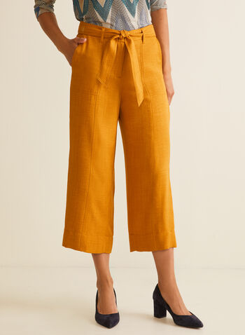 Belted Skirt Pants , Yellow,  pants, skirt pants, wide legs, belt, mid-waist, pockets, belt, spring summer 2020