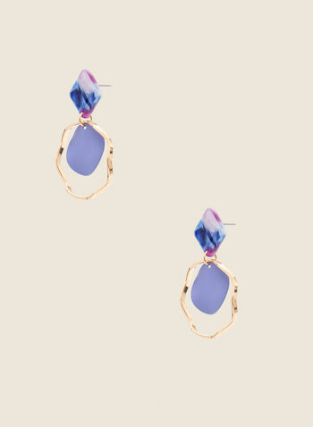 Ring & Disc Earrings, Purple,  jewellery, accessories, earrings, resin, lozenge, circule, ring, metallic, spring summer 2021