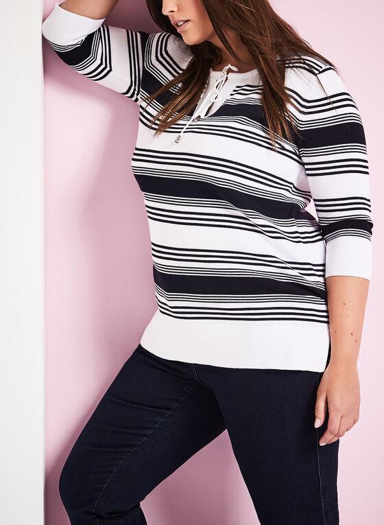 Stripe Print Lace Up Tunic Sweater, White, hi-res