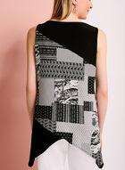 Tunique à motif patchwork avec coupe zigzag, Noir, hi-res