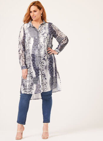 Long Sleeve Abstract Animal Print Duster Blouse, Black, hi-res