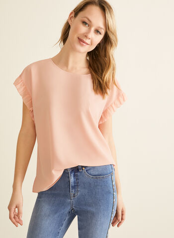 Short Sleeve Crepe Blouse, Pink,  blouse, short sleeves, chiffon, crepe, spring 2020, summer 2020
