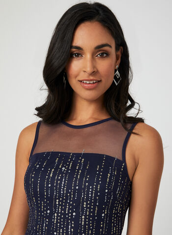 Sleeveless Glitter Mesh Dress, Blue, hi-res,  cocktail dress, sleeveless, fit & flare, mesh, glitter, illusion neck, fall 2019, winter 2019